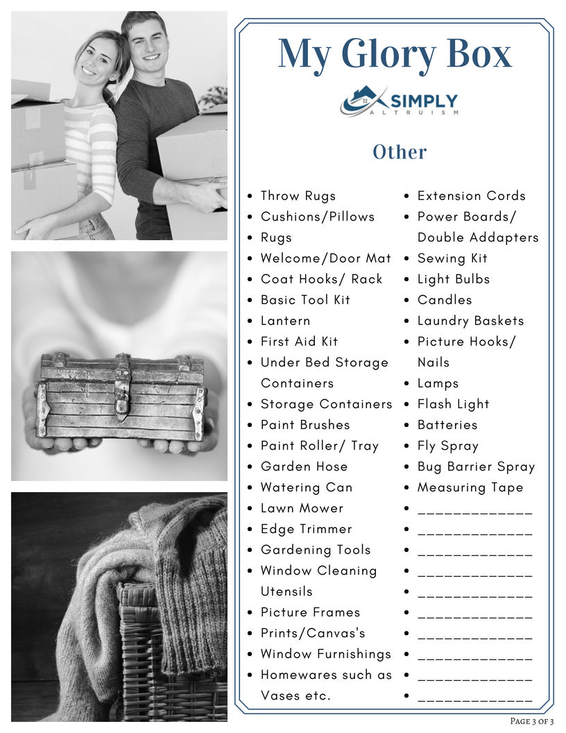 The Property Buyers Guide by Simply Altruism - Glory Box Checklist Page 3 of 3